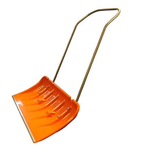 Schneeschieber Schneeschaufel 80x44cm Orange extra breit mit Rollen/Stahlblech-Stiel/Schiebekante Alu