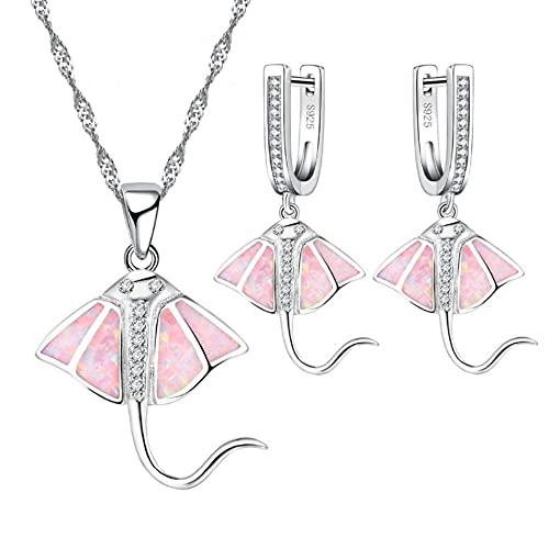 Kudiro El juego de collar y pendientes de joyería es adecuado para la colocación diaria, o regalos de vacaciones, accesorios para mujer (rosa)
