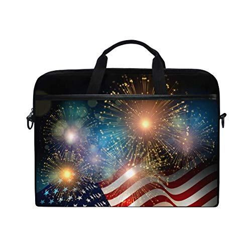 Laptop Sleeve Case,Laptop Bag,American Flag Firework 4Th of July Water Briefcase Messenger Notebook Computer Bag with Shoulder Strap Handle,29×40 CM/15.6 Inch