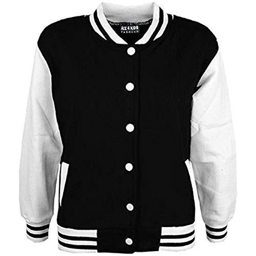 A2Z 4 Kids Kinder Mädchen Jungen Baseball - B.B Plain Jacket Black 3-4