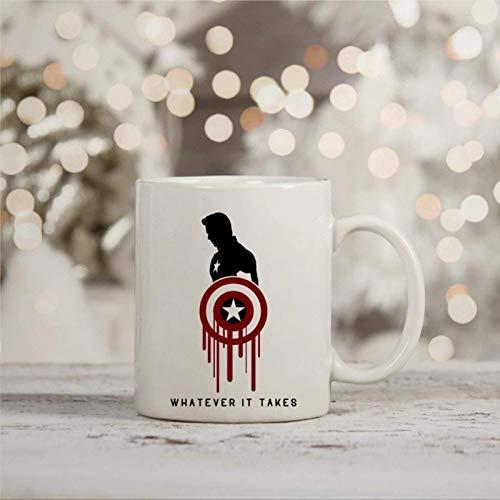 N\A Taza de café, Mar-Vel Endgame Captain Whatever It Takes Taza Inspirada Divertida Taza de té de café de cerámica, Regalo para Amigo, Familia, Amante, colega, 11 oz