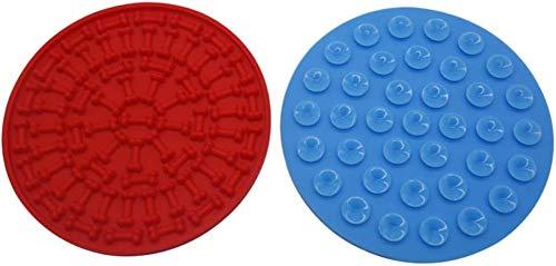 KRY 2 stks lik mat voor huisdieren siliconen douche hond likken mat pad afleiding apparaat voor bad tijd bad likken zuignap (blauw+rood)