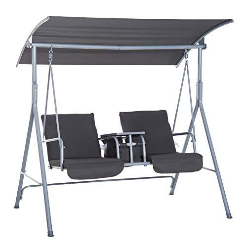Outsunny Dondolo da Giardino 2 Posti Separati con Tavolino Centrale e Tetto Regolabile, in Metallo 175x112x165cm Grigio