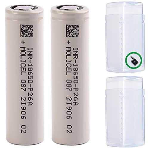 2 Akkus Doppelpack 18650 VTC5A-Alternative - Molicel P26A 18650 für eZigarette Batterien Akku Dampfen Akkus für dampfer + Akkubox