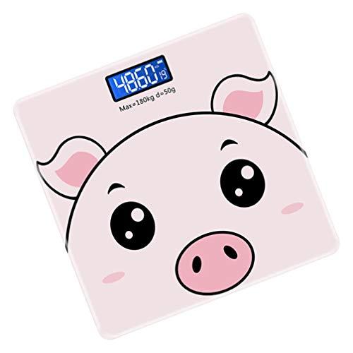 Toddmomy Báscula de Peso Corporal Digital Paso a Paso Analizador de Composición Corporal Dibujo Animado Cerdo Medida Escala Herramienta para Adultos Niños Baño en Casa Fitness Rosa