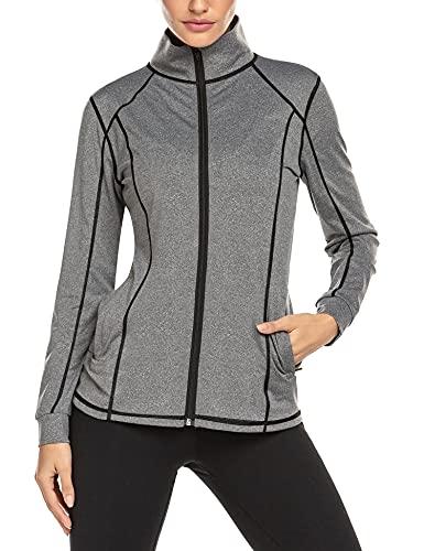 ADOME Damen Laufjacke Sportjacke Langarm Jacke Sweatjacke fuer Yoga Fitness PAT1 L
