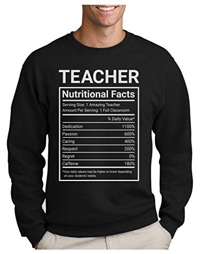 Green Turtle T-Shirts Sudadera para Hombre - Teacher Nutritional Facts - Regalo Original para Profesores Medium Negro