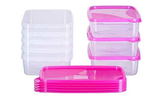 MiraHome Frischhaltedose Gefrierbehälter 1,5l rechteckig flach 23x15x6,5cm 8er Set pink Austrian Quality