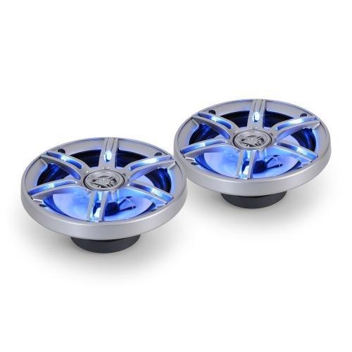Auna CS-LED65 - Paire enceintes auto - Hauts-Parleurs de voiture coaxiaux 3 voies (16,5cm 6,5 pouces, 92 Décibels, câbles inclus) - Eclairage bleu LED