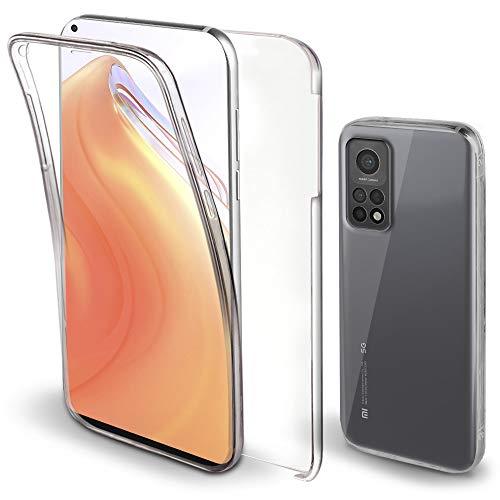 Moozy Cover 360 Gradi per Xiaomi Mi 10T 5G e Mi 10T PRO 5G Trasparente - Case Custodia Copertura Completa - Anteriore in Silicone e Posteriore Rigida