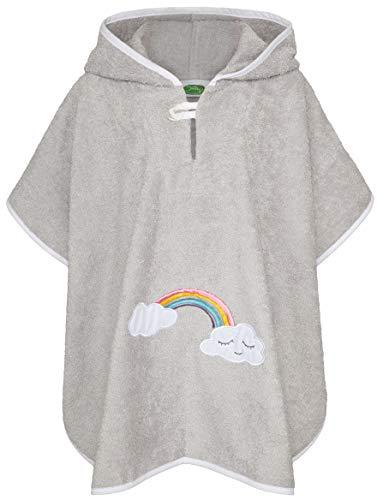 Smithy® Poncho de baño infantil de rizo de algodón - Sin sustancias nocivas y certificado Ökotex - Poncho de baño para bebé - gris con nubes y arcoíris