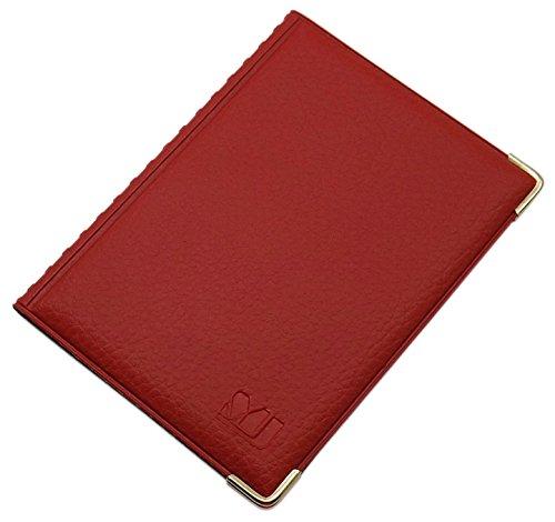 Exclusives Ausweisetui / Ausweishülle / Kreditkartenetui mit Schutzecken aus Metall 10 Fächer MJ-Design-Germany Schwarz Made in EU (Design 3 / Rot)