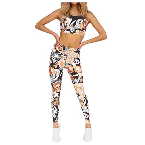 Bresez Trainingsbroek voor dames, mouwloos, multicolor print, trainingsbroek voor dames, tweedelig pak, fitness, hardlopen, pilates, sport, elastische sportkleding, perfecte pasvorm