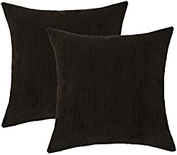 2 pcs Pack Throw Pillow Covers Solid Soft Corduroy Decorative Pillow Cases for Couch Living Room Sofa Bed, Chocolate Dark Brown Modern Striped Both Sides, 18 X 18 Inch, 45 X 45cm