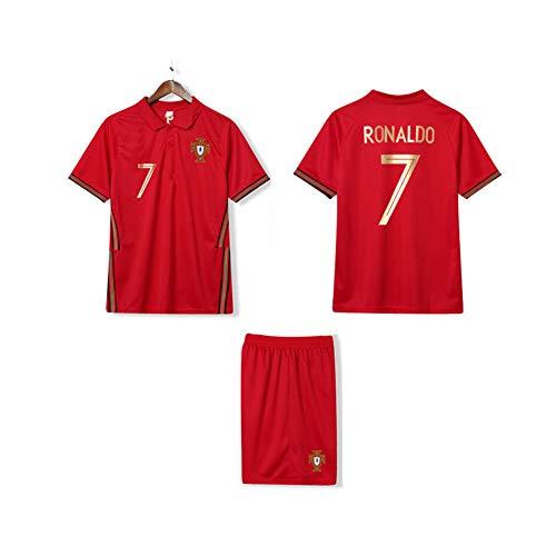 LCHENX-Portogallo Football Team CR7 Fan Soccer Red Set di maglia da calcio per uomo ragazzo, rosso, 5 anni
