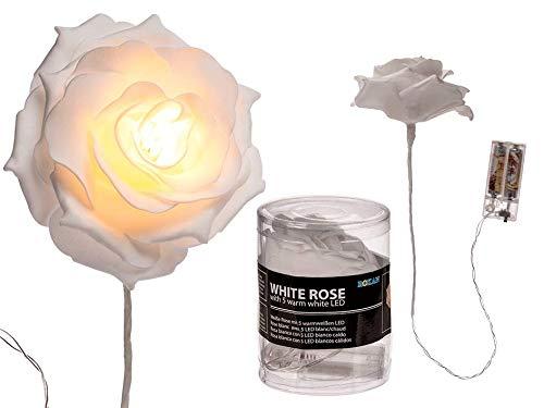 Creofant witte roos met 5 leds · Rozen lichtketting met bloemen in set van 3 kunstbloemen LED lichtketting roos binnenverlichting decoratieve verlichting