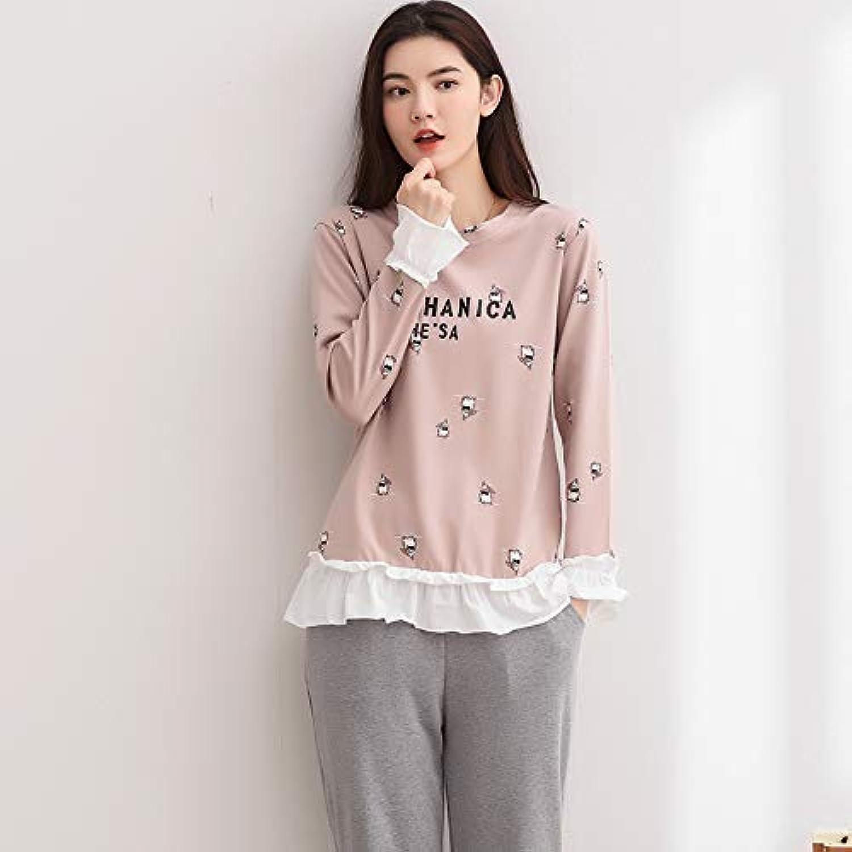 FERFERFERWON Nachthemd Pyjamas Frauen Frühling und Herbst koreanisch lssig Rundhalsausschnitt langrmelige Kleidung zu Hause sü und reizend lssig Mdchen nach Hause Dienstanzug (Gre  M)