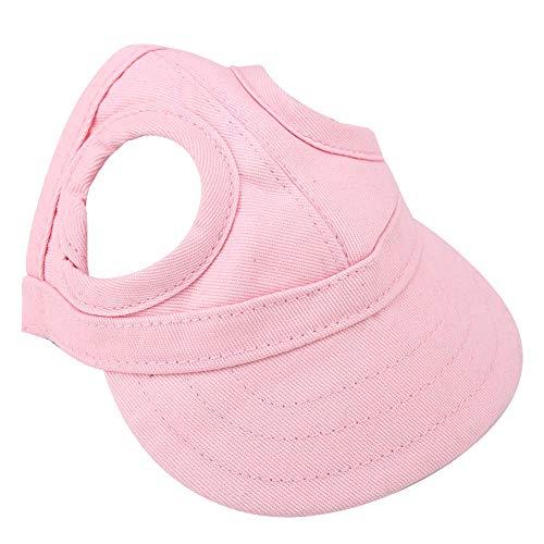 Pssopp Baseballmütze für Haustiere, Hunde Mütze Hund Sport Hut Hunde Sonnenhut Einstellbare Streifen Sommer Reise Hut mit Ohrlöcher(S-Rosa)