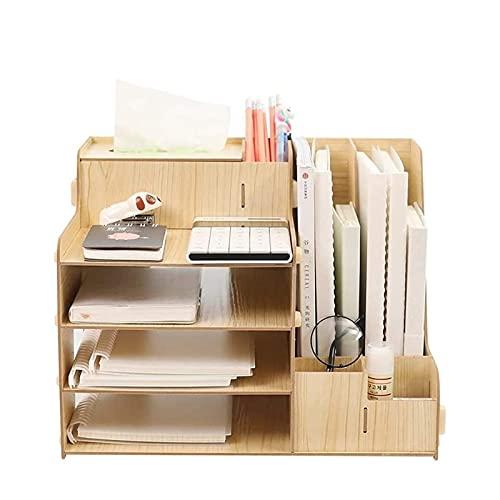 ZXNRTU Ahorro de Espacio Organizador de Escritorio de Oficina con Caja de Tejido y bolígrafo, Organizador de Archivos de Documentos para Accesorios de Oficina/Papel/papelería/portátil, organizad