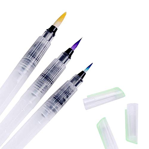 Qatalitic Water Brush Pens – Set of 3 Different Sizes fine, Medium & Large - Great for Watercolor Paints, Illustrations, Calligraphy, Brush Pen, Markers - Refillable Brush Pens