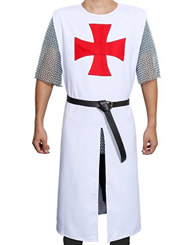 ZJYST Adult Medieval Templar Knight Crusader Tunic Cosplay Costume Outfit with Belt, White, One Size