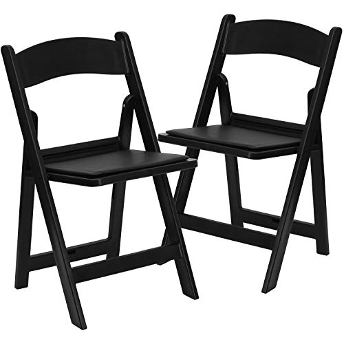 Flash Furniture HERCULES Series Folding Chairs with Padded Seats | Set of 2 Black Resin Folding Chair with Vinyl Padded Seat