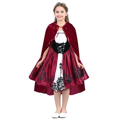 IEFIEL Déguisement Petit Chaperon Rouge Bébé Fille Fancy Robe + Chaperon de Carnaval Halloween Fête Cartoon Costume d'anniversaire Photographie 18 Mois - 10 Ans Rouge 18-24 Mois