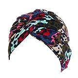 Asudaro Sombrero de Turbante Musulmán de Mujer de Doble Capa Estampado de Leopardo Gorro de Pañuelo Torcido Gorro de Quimioterapia Elástica