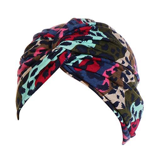 Asudaro Cappello turbante da donna, per dormire, foulard, foulard, foulard leopardato, copricapo bandana Headwrap sciarpe per chemioterapia, caduta dei capelli verde militare Taglia unica
