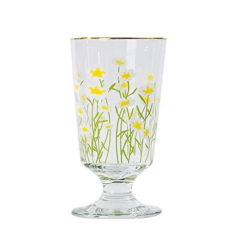 XDYNJYNL Taza de té de vidrio, patrón de flores Taza de leche de vidrio transparente, taza de café, taza de té de piña, vasos de bebida Highball Vasos de agua de cóctel transparentes para café, leche,