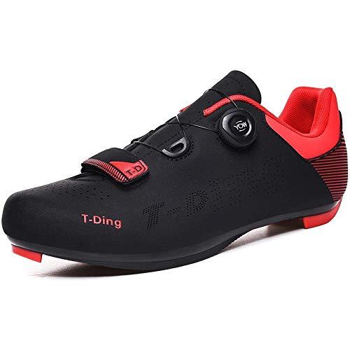 KUXUAN Zapatillas De Ciclismo para Hombre Zapatillas De Bicicleta De Carretera Pro Zapatillas De Bicicleta De Montaña Ciclismo Zapatillas De Ciclismo MTB Transpirables,Red-42