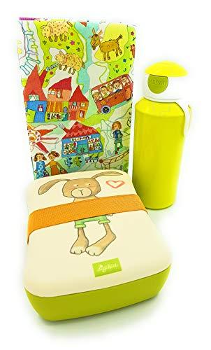 Sigikid Brotdose Bambus Hase Mepal Trinkflasche grün Lunchbox Kiga Geschenkset Kinder Schule