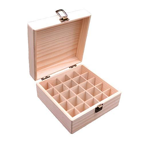 Songlela Ätherische Öle Flaschen Holzbox, 25 Löcher Aromatherapie Öle Tragen Organisator Multifunktions Geschenk Aufbewahrungsbox für Nagellack, Duftöle, Ätherisches Öl, Stain und Lippenstift