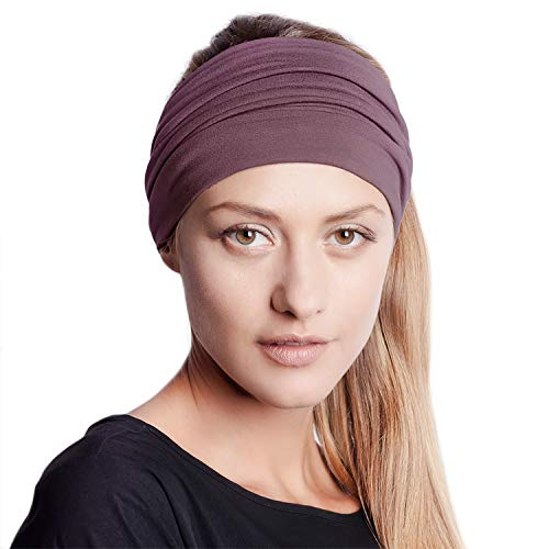 BLOM Original Multi Style Women's Headband. Wear Wide Turban Thick Knotted and More. Yoga Fashion Workout Running Athletic Travel. Comfort Style Versatility. Winter Dusk