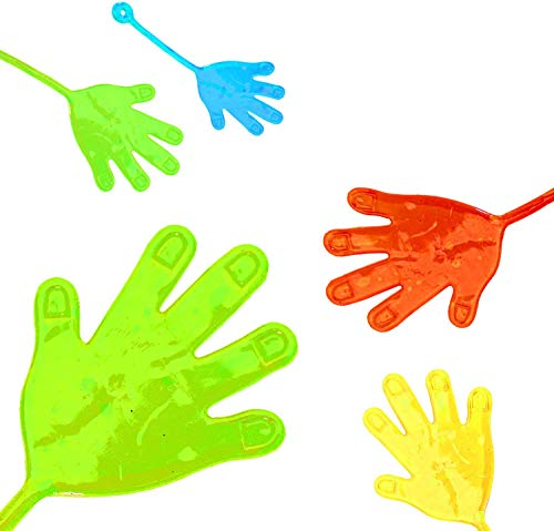 L+H 12x Klatschhand Glibber in Premium Qualität | Bunte Klatschhände | Klebehand Sticky Klatsch Hand Mitgebsel Mitbringsel Give aways Scherzartikel Spielspaß für Geburtstag Kindergeburtstag Kinder
