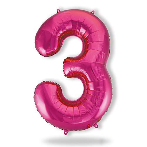 FUNXGO® Folienballon Zahl in Pink - L / ca.100 cm Riesenzahl Ballons - Geeignet für Luft & Helium für Geburtstage Party Hochzeiten Jubiläen Einweihungen Einstände Abschlüsse (Pink[3])