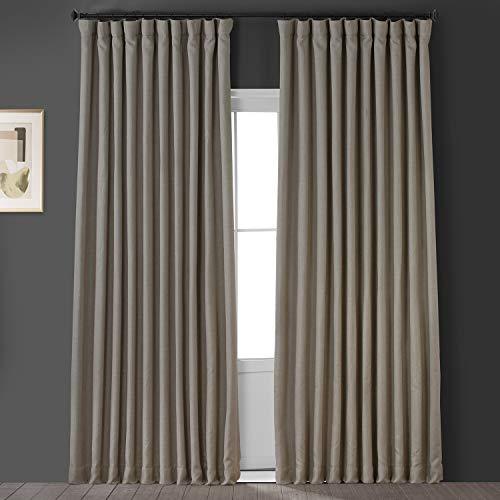HPD Half Price Drapes BOCH-LN1857-108-DW Faux Linen Extra Wide Room Darkening Curtain (1 Panel), 100 X 108, Oatmeal