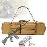 EnweLampi Bolsa Táctico Doble para Rifle, Suave Bolsa para Rifle Carabina con Correa Extraíble, Resistente Al Agua, Bolsa Larga para Pistola para Deportes Campo Tiro Caza,Caqui