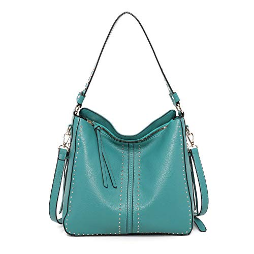 Montana West Large Leather Hobo Handbag for Women Concealed Carry Studded Shoulder Bag Crossbody Purse MWC-1001TQ