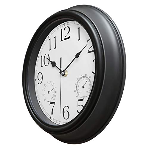 Foxtop Retro Silent Non-Ticking Wall Clock with Thermometer and Hygrometer Combo, 12 Inch Battery Operated Quality Quartz Round Clock for Bathroom Home Decor (Black)