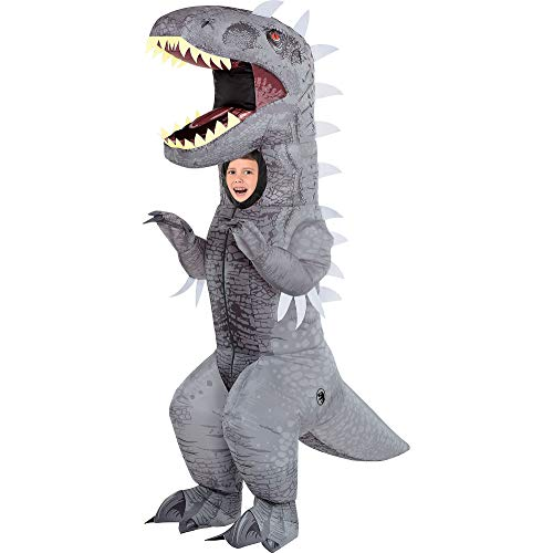 Party City Inflatable Indominus Rex Halloween Costume for Children, Jurassic World, Standard Size, Battery Operated Fan