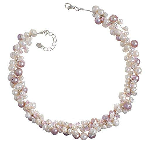 Chuvora Genuine Pink Cultured Fresh Water Pearl with Crystal 3-Strand Silk...