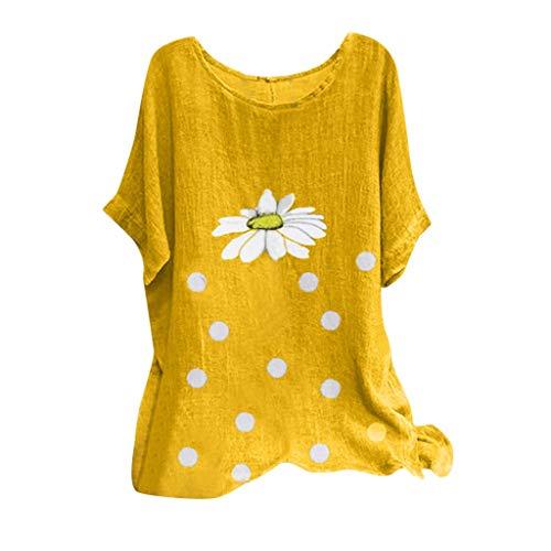 Xniral Damen Kurzarm T-Shirt Sommer Lose Shirt Chrysanthemum Punkt Drucken Lose Kurzarm-Oberteil Baumwollmischung O-Ausschnitt Bluse(Gelb,S)