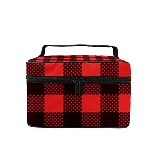 Bolsa de maquillaje de viaje grande bolsa de cosméticos de franela roja impresión maquillaje caso organizador con bolsa de malla para mujeres y niñas