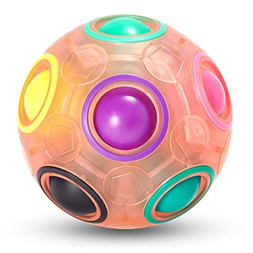 Vdealen Magic Rainbow Puzzle Ball, Fidget Ball Puzzle Game Fun Stress Reliever Magic Ball Brain Teaser Ball Toys for Children Teens & Adults