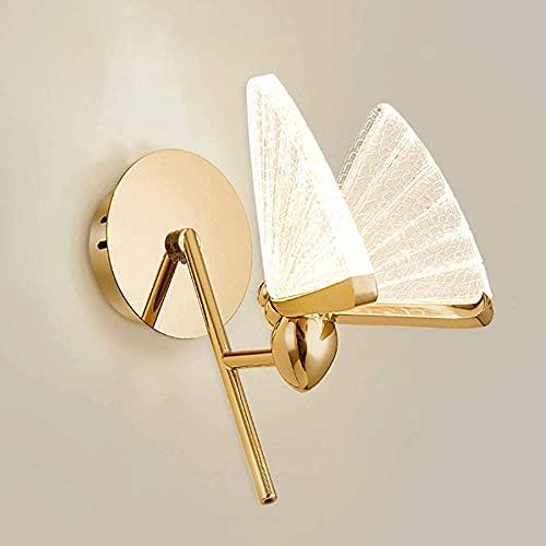 JPL Lámparas novedosas, lámpara de pared Siet para interiores, aplique de pared LED, accesorios de iluminación de pared de metal dorado moderno, lámparas de pared con forma de mariposa, luces nocturn