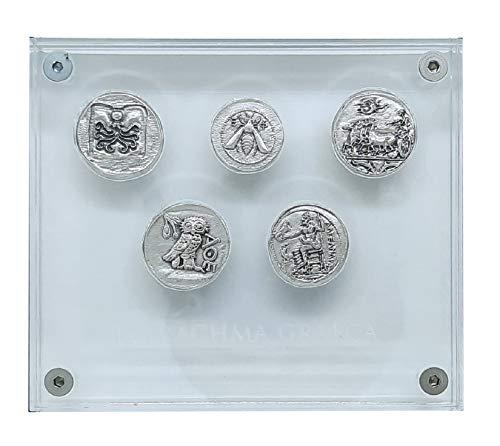 Eurofusioni Colección Monedas Antiguas Griegas bañadas en Plata con Expositor y Caja de Cuero sintético - 5 Tetradrachm Reproducción Set