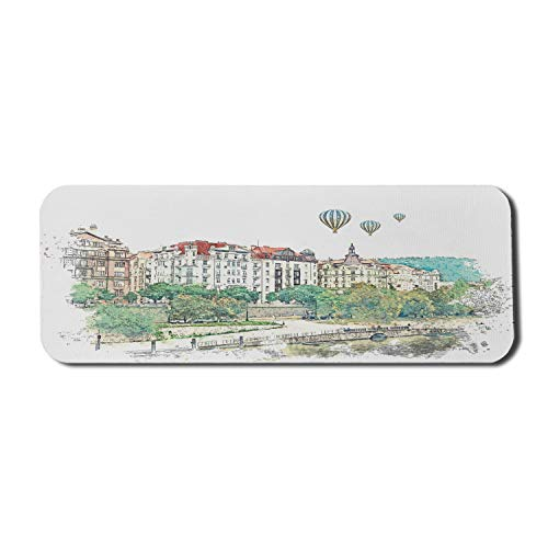 Ambesonne Travel Mouse Pad for Computers, Watercolor Sketch of a View in Prague in Czech Republic European Destination, Rectangle Non-Slip Rubber Gaming Mousepad Large, 31' x 12', Multicolor