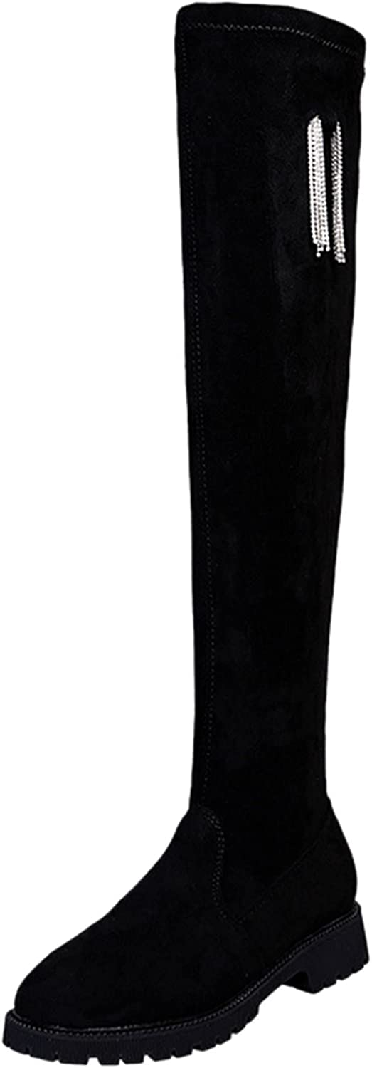 Women's Over The Knee High Low Block Heel Riding Boots Riding Flat Low Heel Shoes 3CM