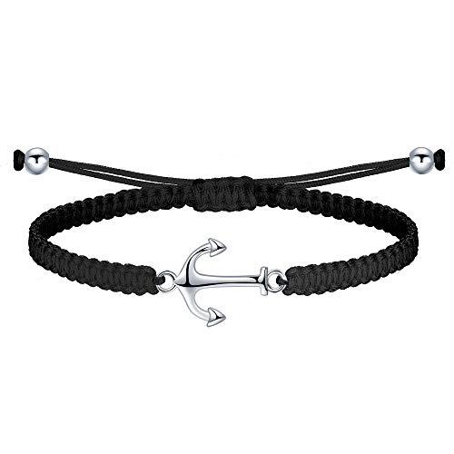 J.Endéar Bracelet Fait Main avec Ancre Argent 925 Chaîne en Filigrane Tressé pour Femmes Hommes Été Mer Bijoux Cadeau